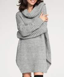 Light grey textured knit jumper dress