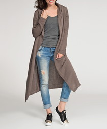 Cappuccino hooded longline cardigan