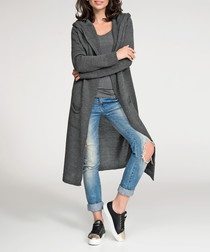 Graphite hooded longline cardigan