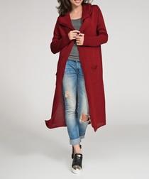 Maroon hooded longline cardigan