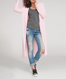 Powder pink hooded longline cardigan