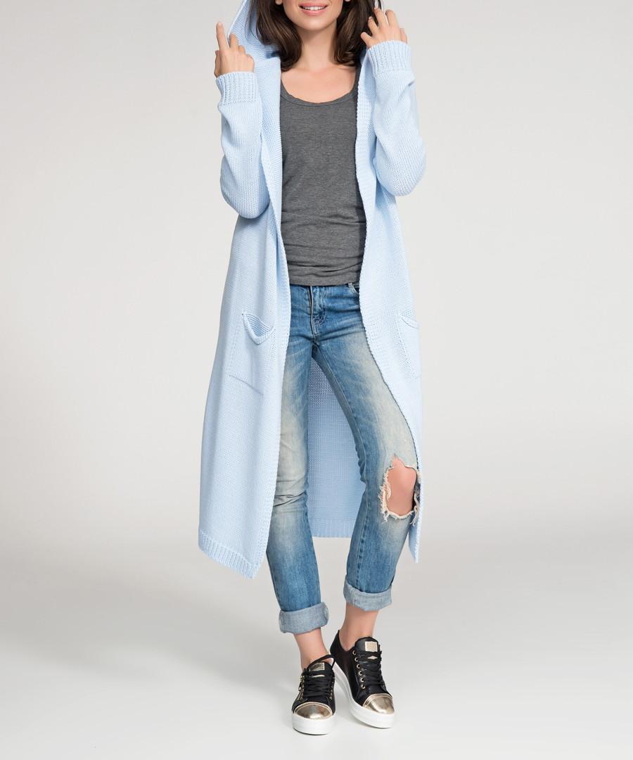 Sky blue hooded longline cardigan Sale - numinou