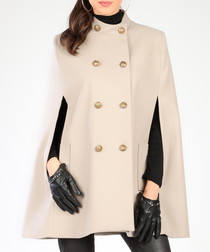 Beige slip pocket military cape