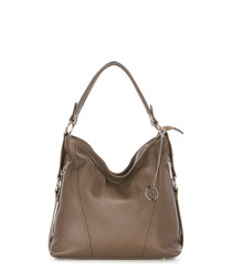 Taupe pebbled leather slouch bag