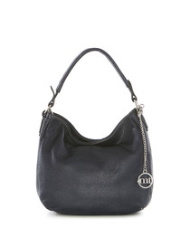 Navy pebbled leather slouch bag