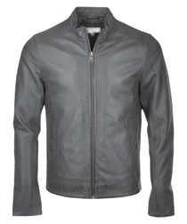 Jay grey leather Harrington jacket