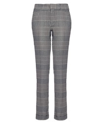 Denise grey houndstooth cropped trousers