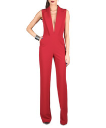 Bordeaux plunge sleeveless jumpsuit