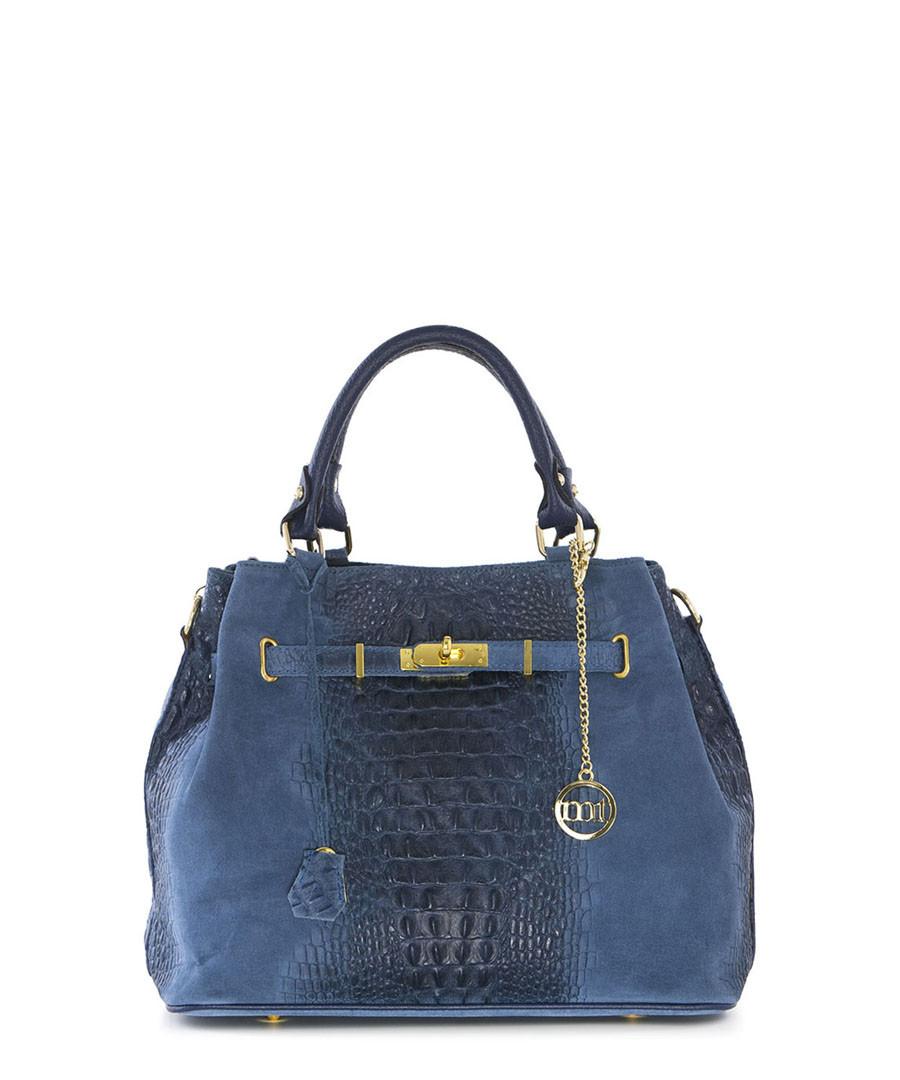 Blue leather moc-croc grab bag Sale - mia tomazzi