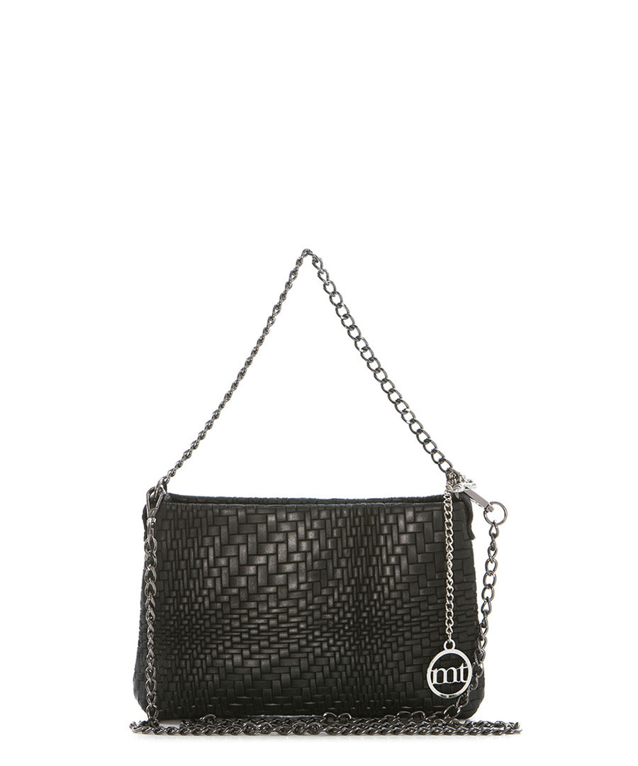 Black weave-effect leather crossbody Sale - mia tomazzi