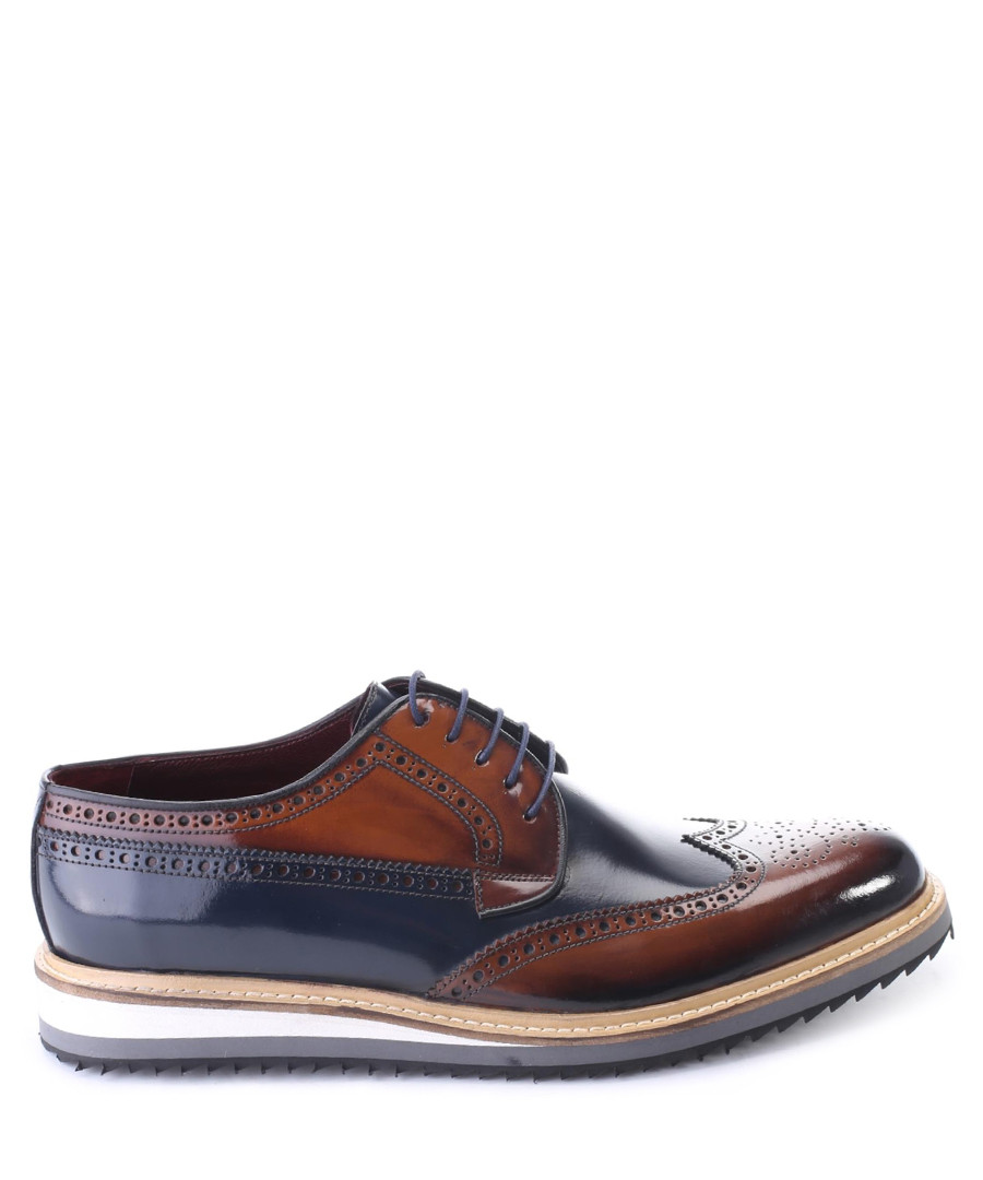 Brown & navy patent leather brogues Sale - deckard
