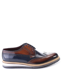 Brown & navy patent leather brogues