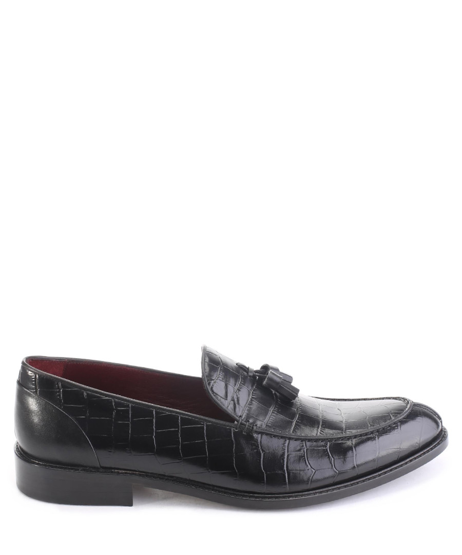 Black leather croc-pattern loafers  Sale - deckard