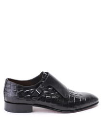 Black leather buckle slip-on shoes