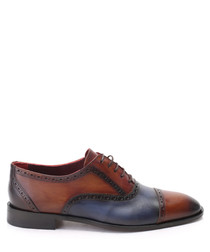 Brown & blue leather Derby shoes