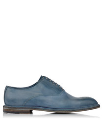 Blue leather lace-up shoes