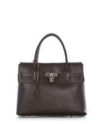 Wine leather padlock grab bag