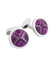 Kaleidoscope purple glass cufflinks