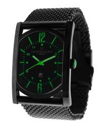 Black & green mesh strap watch