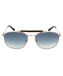 Marlon rose gold-tone & blue sunglasses