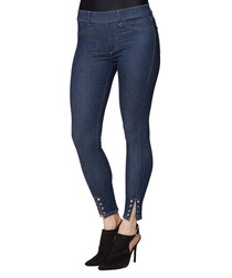 Dark blue cotton cropped leggings