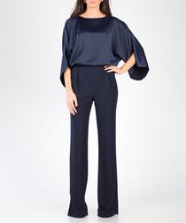 Dark blue tulip sleeve jumpsuit