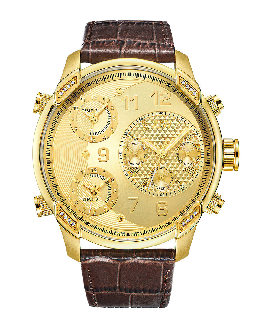 G4 gold-tone & brown leather strap watch Sale - jbw