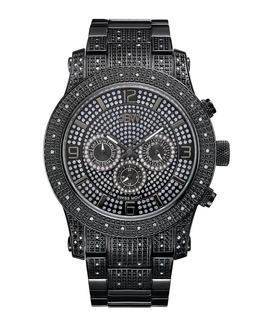 Lynx black steel & diamond watch Sale - jbw