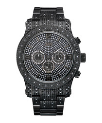 Lynx black steel & diamond watch