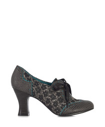 Daisy brown jacquard ankle boots