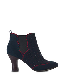 Sammy navy & red dot ankle boots