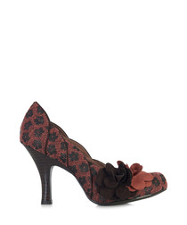 April brown weave-effect court shoes
