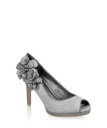 Donna silver & floral peep toe heels