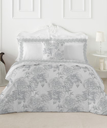 Guiomar king grey cotton duvet set