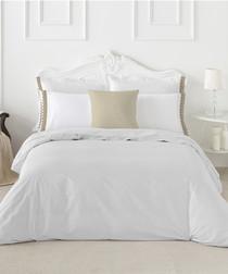 Izora king white cotton duvet set