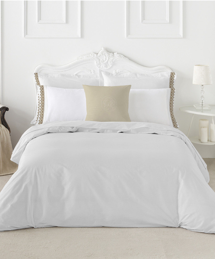 Izora double white cotton duvet set Sale - pure elegance