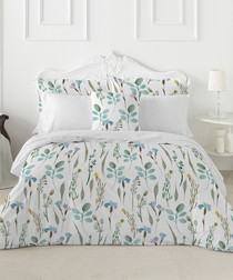 Peridot green cotton single duvet set