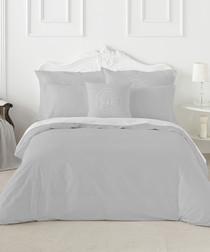 Liso grey cotton double duvet set