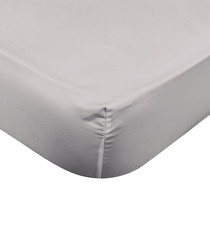 Liso grey cotton s.king fitted sheet