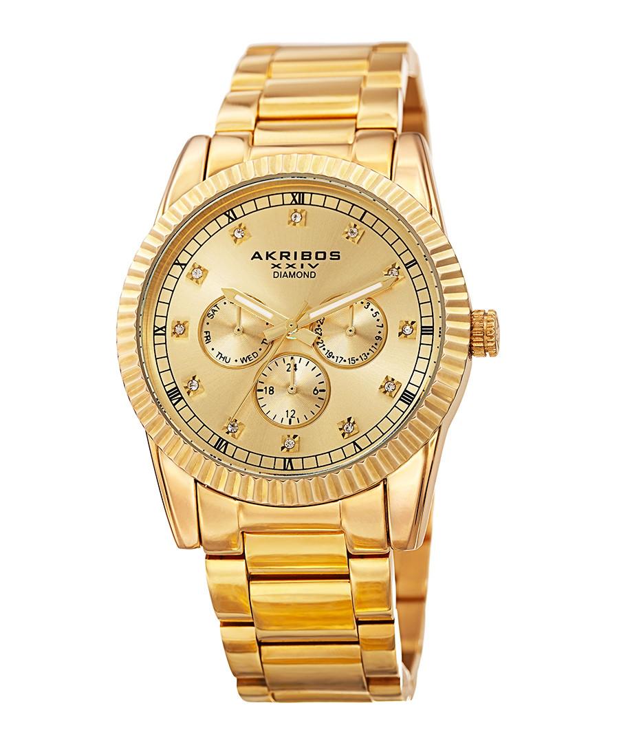 Gold-tone alloy & crystal watch Sale - akribos XXIV