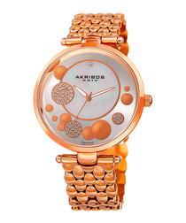 Rose gold-tone circular link watch