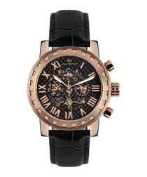 Squelette black leather watch
