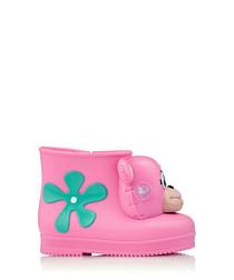 Girl's Monkey pink & aqua green boots