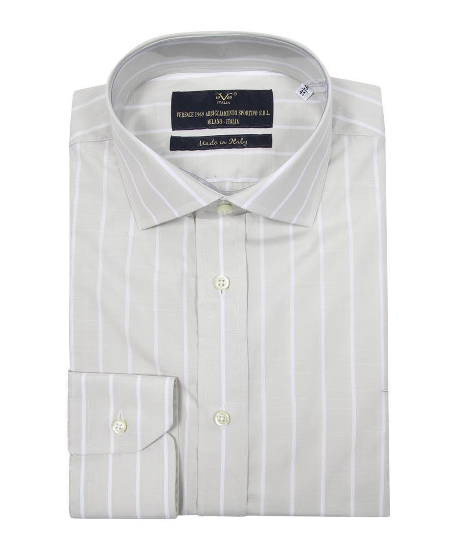 Beige & white pure cotton stripe shirt Sale - VERSACE 1969 ABBIGLIAMENTO SPORTIVO SRL