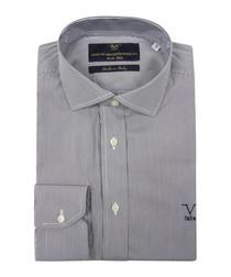 Navy & white pure cotton stripe shirt
