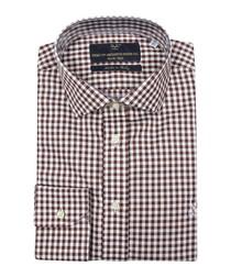 Brown & white pure cotton check shirt