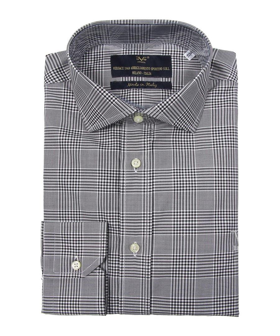 Black & white pure cotton check shirt Sale - v italia by versace 1969 abbigliamento sportivo srl milano italia