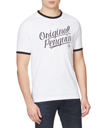 White & black pure cotton script T-shirt