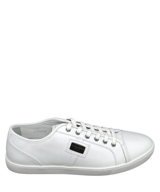 Dolce   Gabbana. Women s white leather lace-up sneakers c4a4b9ce3