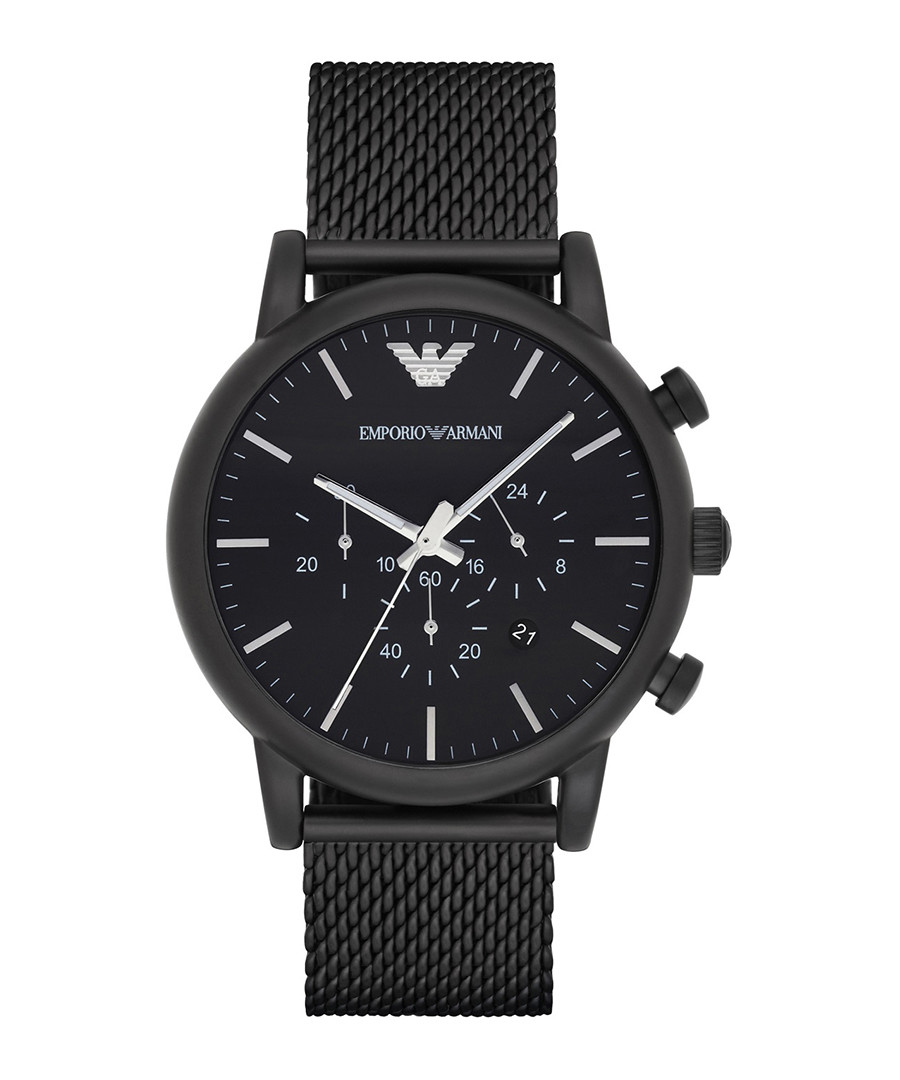 Black stainless steel mesh watch  Sale - emporio armani